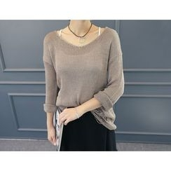 DANI LOVE - V-Neck Distressed Knit Top