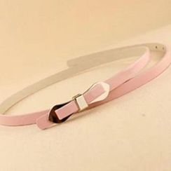 Charm n Style - Bow-Accent Faux Leather Slim Belt