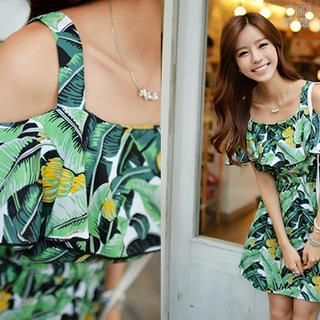 Bongjashop - Cutaway-Shoulder Ruffle-Front Floral-Pattern Dress
