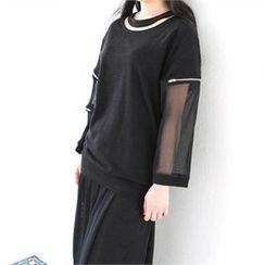 GLAM12 - Sheer Lace-Sleeve T-Shirt