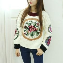 Dodostyle - Wool Blend Printed Round-Neck Knit Top