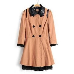 9mg - Contrast Faux-Leather-Collar Trench Coat