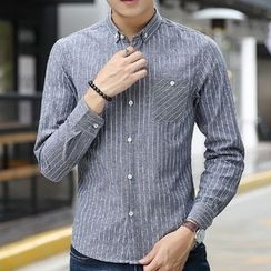 Fusuma - Pinstripe Stand-collar Shirt