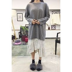 OZNARA - Round-Neck Knit Mini Dress