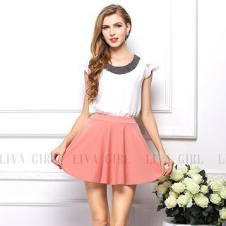 LIVA GIRL - Pleated A-Line Skirt