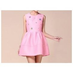 Strawberry Flower - Sleeveless Embellished Dress