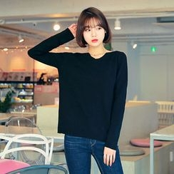 HOTPING - V-Neck Knit Top