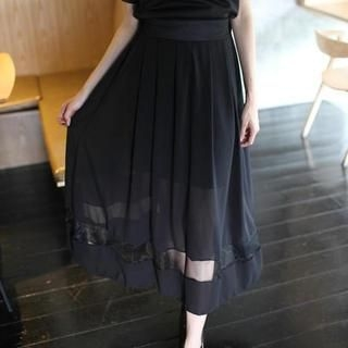 Mini Jule - Elastic-Waist Tulle-Panel Maxi Skirt