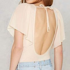 Obel - Fluttered Short Sleeve Open Back Bodysuit Top