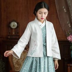 GU ZHI - Embroidered Open-Front Cardigan