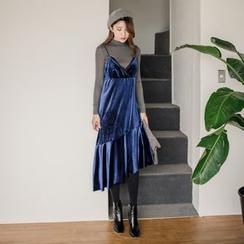 WITH IPUN - Spaghetti-Strap Asymmetric-Hem Dress