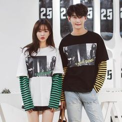 Azure - Couple Matching Mock Two Piece Printed Striped Panel Pullover