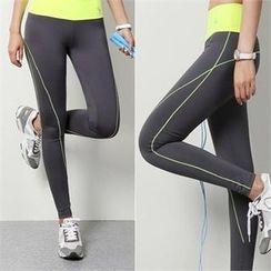 PINKSISLY - Contrast-Trim Yoga Pants