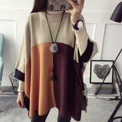 Qimi - Color Block Cape Sweater