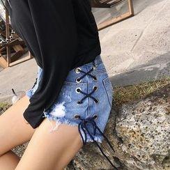 Jeans Kingdom - Lacing Side Distressed Denim Shorts