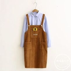 PANDAGO - Embroidered Corduroy Pinafore Dress