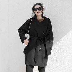 Haco Studio - Tie-Waist Wool Blend Coat