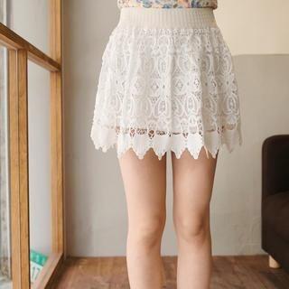 Tokyo Fashion - Elastic-Waist Crochet A-Line Skirt