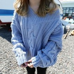 YUKISHU - Cable Knit V-Neck Sweater
