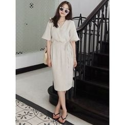 maybe-baby - Wrap-Front Linen Dress