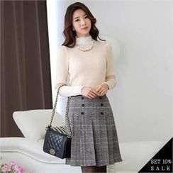 COCOAVENUE - Set: Lace-Neck Knit Top + Pleated Check-Pattern Skirt