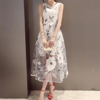 Dowisi - Sleeveless Floral Print Organza Dress
