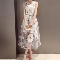 Dowisi - Sleeveless Floral Print Organza Dress