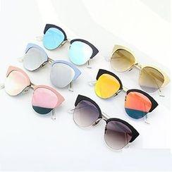 Sunny Eyewear - Mirrored Semi-Rimless Sunglasses