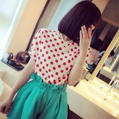 DreamyShow - Short-Sleeve Polka Dot Top
