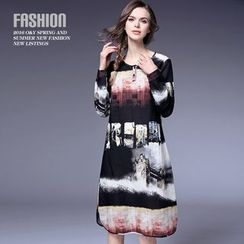 Ozipan - Long-Sleeve Printed Dress