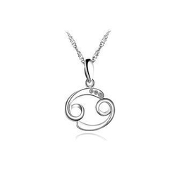 BELEC - 925 Sterling Silver Constellation Cancer Pendant with Necklace