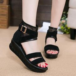 Hannah - Genuine Leather Platform Cuffed Sandals