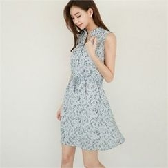 Styleberry - Sleeveless Floral Print A-Line Dress