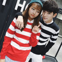 Simpair - Striped Couple Matching Sweater