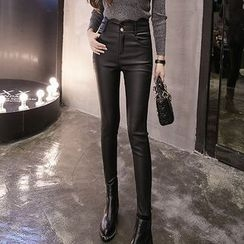 lilygirl - Scallop Trim Faux Leather Skinny Pants