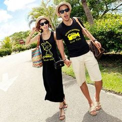 Sunset Hours - Couple Matching Cat Tank Dress / Fish Bone T-shirt