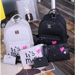 Coxchamp - Set:  Letter Faux Leather Backpack + Clutch + Card Holder