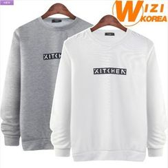 WIZIKOREA - Lettering Fleece-Lined Sweatshirt