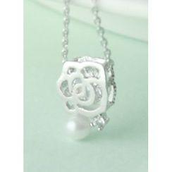 kitsch island - Rhinestone Floral Necklace