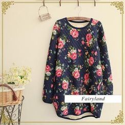 Fairyland - Peony Print Quilted Long-Sleeve T-Shirt