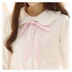 Sechuna - Frilled Peterpan-Collar Beribboned Blouse