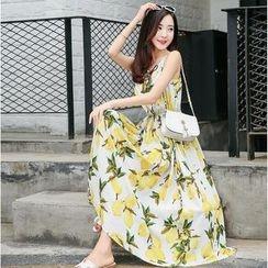 Angel Shine - 印花吊带沙滩长裙