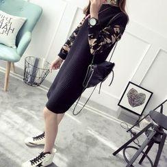 Qimi - 長袖迷彩拼接針織連衣裙