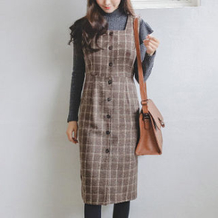 JUSTONE - Plaid Wool Blend Midi Jumper Dress