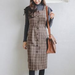 JUSTONE - Plaid Wool Blend Midi Jumper Dress