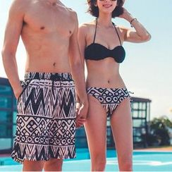 DJ Design - Set: Print Bikini + Cover-Up Top / Couple Matching Swim Trunks