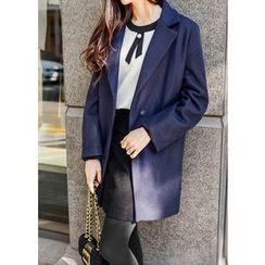 J-ANN - Wool Blend Notch-Lapel Coat