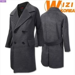 WIZIKOREA - Wide-Lapel Double-Breasted Coat