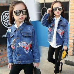 Pegasus - Kids Butterfly Embroidered Denim Jacket