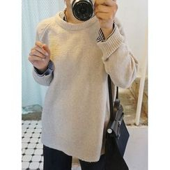 STYLEBYYAM - Wool Blend Raglan-Sleeve Dip-Back Knit Top